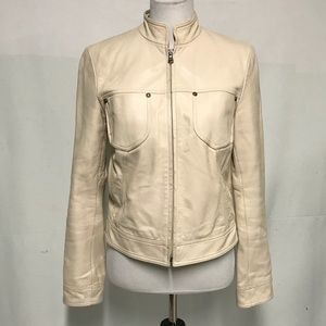 Nine West cream leather moto jacket